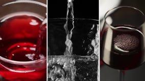 Collage dai video differenti delle bevande fresche stock footage