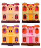 Collage of dall houses  isolated on white. Royalty Free Stock Images