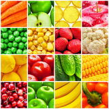 Collage dalla frutta e dalle verdure fresche Immagine Stock Libera da Diritti