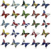 Collage dalle bandierine africane sulle farfalle Immagine Stock Libera da Diritti