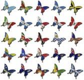 Collage dalle bandierine africane sulle farfalle Fotografie Stock Libere da Diritti