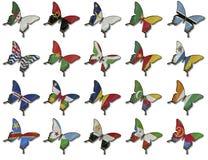 Collage dalle bandierine africane sulle farfalle Immagini Stock