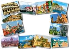 Collage dalle foto dell'Italia su fondo bianco Fotografia Stock