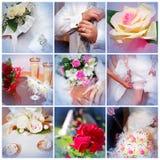 Collage dalle foto di cerimonia nuziale. Nove in uno Immagine Stock