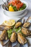 Collage dalle foto differenti di frutti di mare deliziosi fotografia stock