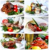 Collage dalle fotografie dei piatti caldi di pesci e della carne Fotografia Stock Libera da Diritti