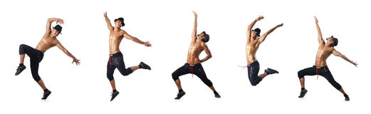 The collage of dancers isolated on white background Stock Photo