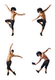 The collage of dancers isolated on white background Stock Images