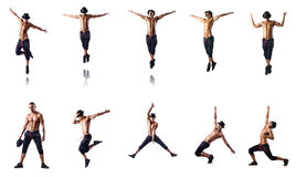 The collage of dancers isolated on white background Royalty Free Stock Photos