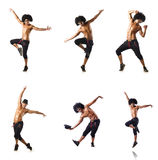 The collage of dancers isolated on white background Stock Photos
