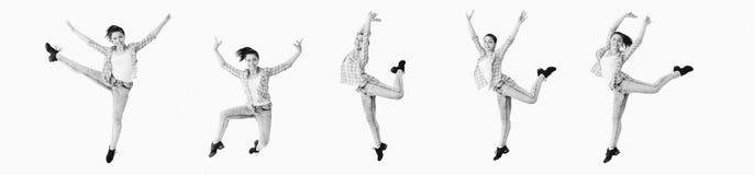 Dancing girl collage stock photos