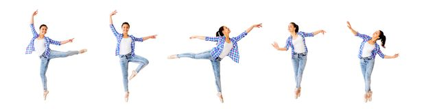 Dancing girl collage stock image