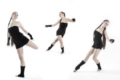 Collage of dancing girls. Dressed in black Stock Photo