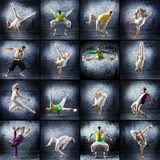 A collage of dancing men in sporty clothes Royalty Free Stock Images