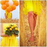 Collage dans des tons jaunes de belle jeune femme sur le champ de blé d'été Photos libres de droits