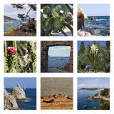Collage - das spanische Meer und die Strände Stockbild
