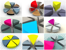 Collage de 9 tableaux tridimensionnels. graphismes. Images stock
