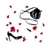 Collage de accesorios personales y de la flor aislados en blanco Fotos de archivo