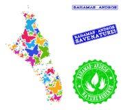 Collage de ahorro de la naturaleza del mapa de Bahamas - la isla de Andros con las mariposas y los sellos texturizados stock de ilustración