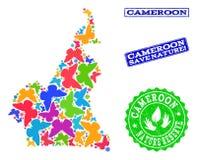 Collage de ahorro de la naturaleza del mapa del Camerún con las mariposas y los sellos del Grunge ilustración del vector