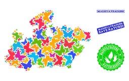 Collage de ahorro de la naturaleza del mapa del estado de Madhya Pradesh con las mariposas y las filigranas de goma ilustración del vector