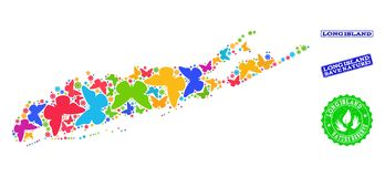 Collage de ahorro de la naturaleza del mapa de Long Island con las mariposas y los sellos de la desolación stock de ilustración