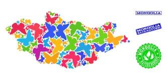 Collage de ahorro de la naturaleza del mapa de Mongolia con las mariposas y los sellos del Grunge libre illustration
