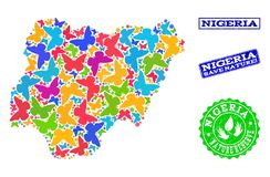 Collage de ahorro de la naturaleza del mapa de Nigeria con las mariposas y los sellos de goma libre illustration