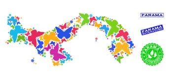 Collage de ahorro de la naturaleza del mapa de Panamá con las mariposas y los sellos del Grunge libre illustration