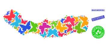 Collage de ahorro de la naturaleza del mapa del sao Miguel Island con las mariposas y los sellos texturizados stock de ilustración