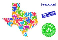 Collage de ahorro de la naturaleza del mapa de Texas State con las mariposas y los sellos texturizados ilustración del vector