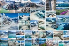 Collage de Alaska de los glaciares Imagen de archivo