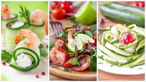 Collage de aperitivos frescos veraniegos Foto de archivo libre de regalías