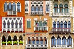 Collage de balcones en Venecia, Italia Fotos de archivo libres de regalías
