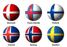 Collage de banderas escandinavas con las etiquetas Imagen de archivo libre de regalías