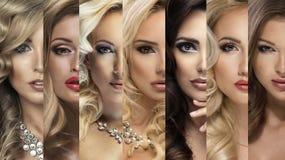 Collage de beauté Ensemble des visages des femmes Photos stock