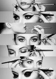 Collage de beauté Visages des femmes Photos stock