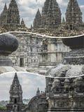 Collage de beelden van van Prambanan (Indonesië) - reisachtergrond ( Royalty-vrije Stock Foto's
