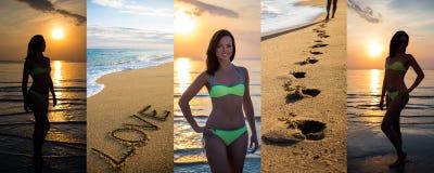 Collage de belle femme mince dans le bikini posant sur la plage d'été Photo libre de droits