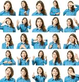 Collage de belle fille avec différentes expressions du visage Photos stock