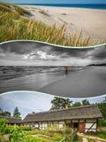Collage de belle plage sablonneuse Leba, mer baltique, Pologne Images stock