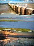 Collage de belle plage sablonneuse Leba, mer baltique, Pologne Photo stock