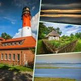Collage de belle plage sablonneuse Leba, mer baltique, Pologne Photographie stock libre de droits