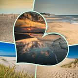 Collage de belle plage sablonneuse Leba, mer baltique, Pologne Photographie stock
