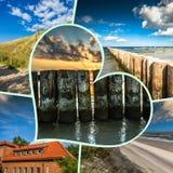 Collage de belle plage sablonneuse Leba, mer baltique, Pologne Photos stock