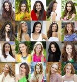 Collage de belles jeunes femmes entre le voix pour dix-huit et trente photos libres de droits