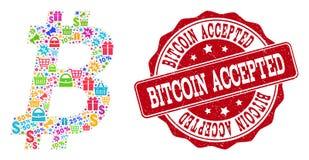 Collage de Bitcoin de mosaïque et de timbre rayé à vendre illustration libre de droits