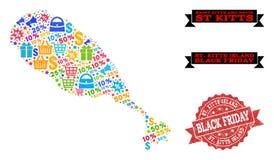 Collage de Black Friday de carte de mosaïque d'île de St Kitts et de timbre texturisé illustration de vecteur