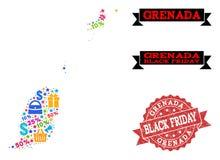 Collage de Black Friday de carte de mosaïque des îles du Grenada et affliger le timbre illustration libre de droits
