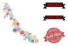 Collage de Black Friday del mapa de mosaico del estado de Veracruz y del sello texturizado stock de ilustración
